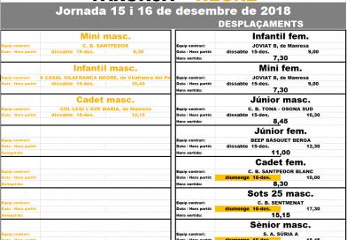 Deu partits per la doble jornada del 15 i 16 de desembre