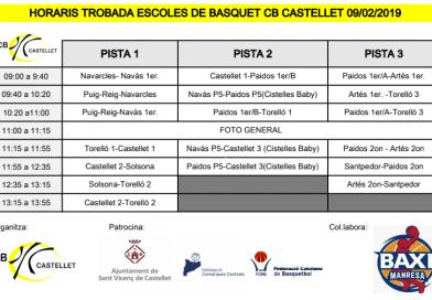 Calendari de la trobada d'escoles de bàsquet