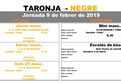 Calendari del 9 de febrer, només 4 partits i trobada d'escoles de bàsquet