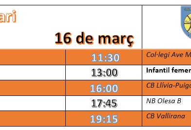 Graella de partits del dissabte 16 de març