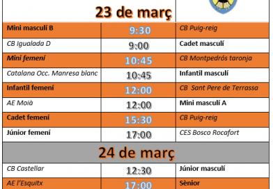 Doble jornada de bàsquet el 23 i 34 de març