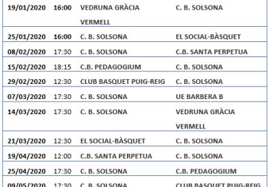 Calendari del júnior femení per la segona fase