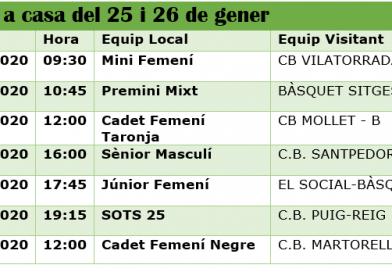 Calendari dels partits a casa 25 i 26 de gener