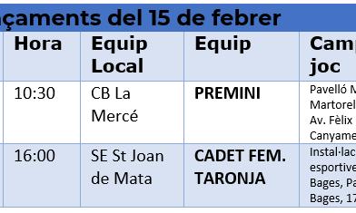 Partits a fora del 15 de febrer