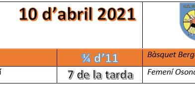 Partits del dissabte 10 d'abril